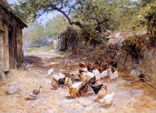 Chickens in a Farmyard - Ernst Walbourn