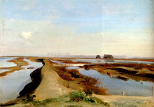 The Salt Marshes, Ostia - Jean-Baptiste-Adolphe Gibert