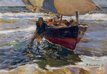 Beaching the Boat (study) - Joaquin Sorolla Y Bastida