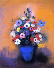 Minosas, Anemonies and Leaves in a Blue Vase
